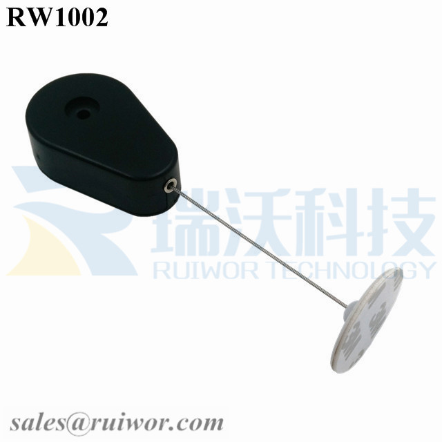 RW1002-Retractable-Security-Tether-Black-Exit-B-With-Diameter-30mm-Circular-Adhesive-ABS-Plate