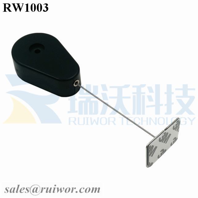 RW1003-Retractable-Security-Tether-Black-Exit-B-With-35X22mm-Rectangular-Adhesive-Metal-Plate