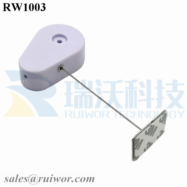 RW1003 Drop-shaped Retractable Security Tether with Steel Wire Plus Rectangular Adhesive metal Plate for Retail Products Display