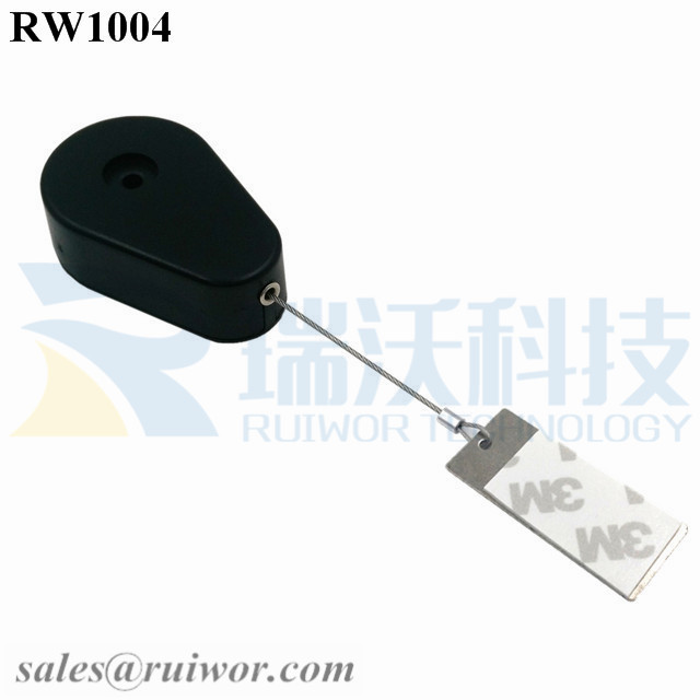 RW1004 Drop-shaped Retractable Security Tether Plus 45X19mm Rectangular Sticky metal Plate