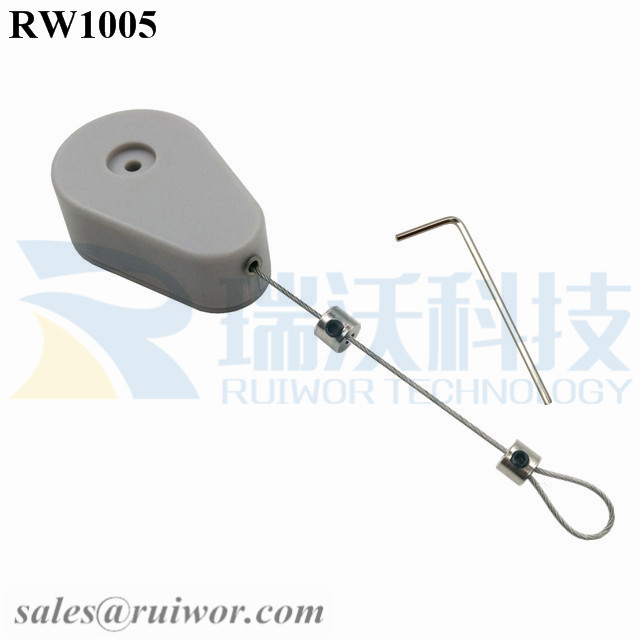 RW1005 Drop-shaped Retractable Security Tether Plus Adjustalbe Lasso Loop by Small Lock and Allen Key for Anti Theft Display