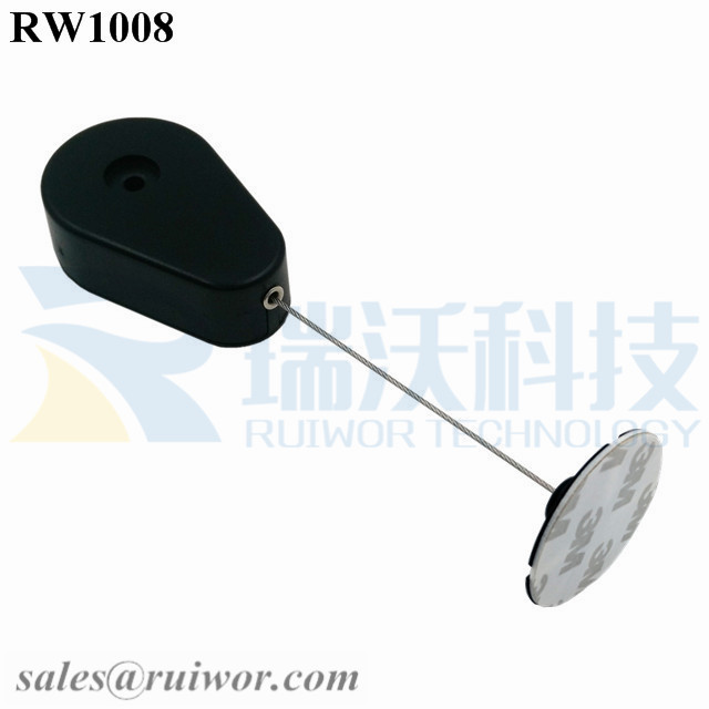 RW1008-Retractable-Security-Tether-Black-Exit-B-With-Diameter-38mm-Circular-Sticky-Flexible-ABS-Plate