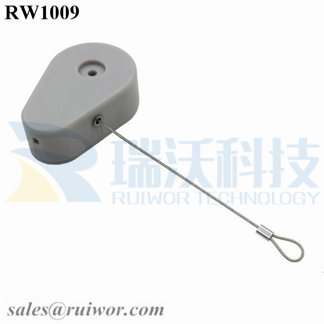 RW1009 Drop-shaped Retractable Security Tether Plus Size Customizable Fixed Loop End for Store Security
