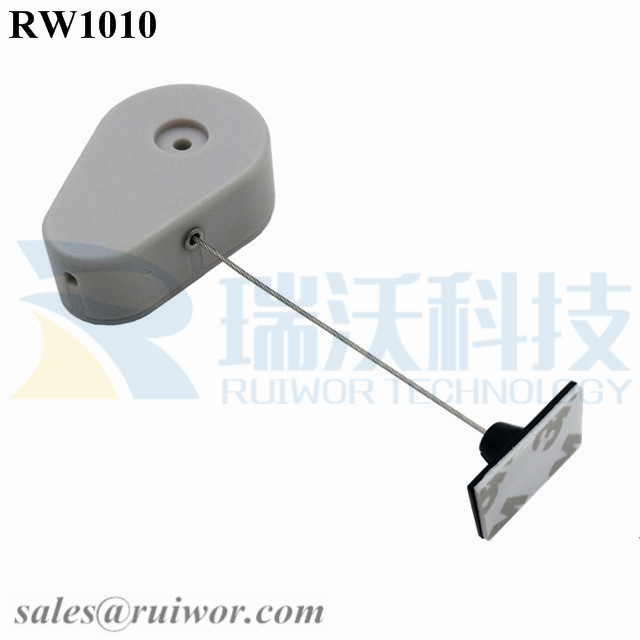 RW1010 Drop-shaped Retractable Security Tether Plus 25X15mm Rectangular Adhesive ABS Plate as Security Equipment