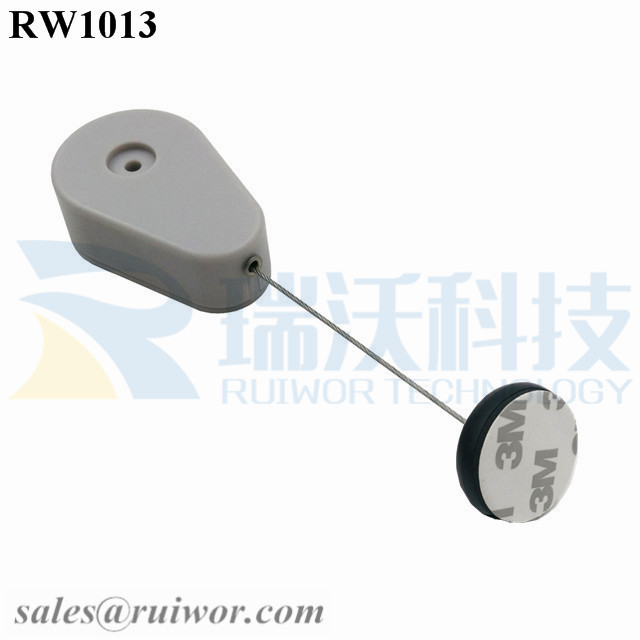 RW1013 Drop-shaped Retractable Security Tether Plus Dia 30MMx5.5MM Circular Adhesive ABS Block for Advertising Display