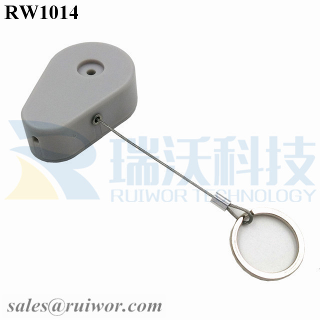 RW1014 Drop-shaped Retractable Security Tether Plus with Demountable Key Ring for Retail Store Anti Theft Display