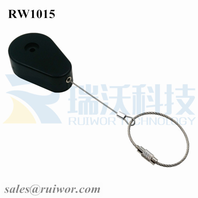 RW1015 Drop-shaped Retractable Security Tether Plus Size Customizable Wire Rope Ring Catch