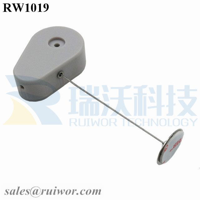 RW1019 Drop-shaped Retractable Security Tether with 22mm metal Round Clinging Plate End for Small Product Display