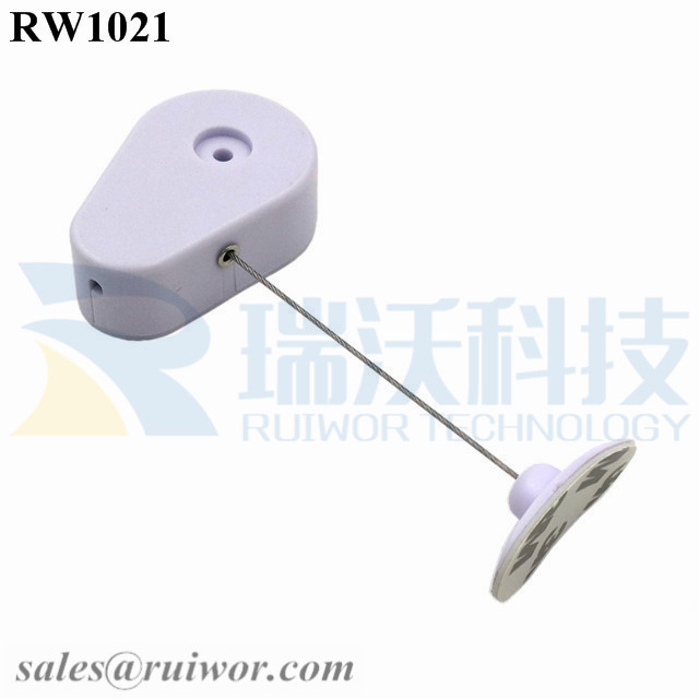 RW1021 Drop-shaped Retractable Security Tether Plus 33x19MM Oval Sticky Flexible Rubber Tips for Curved Surface Product