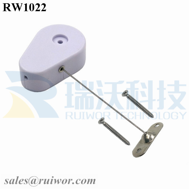 RW1022 Drop-shaped Retractable Security Tether Plus 10x31MM Two Screw Perforated Oval Metal Plate Connector Installed by Screw