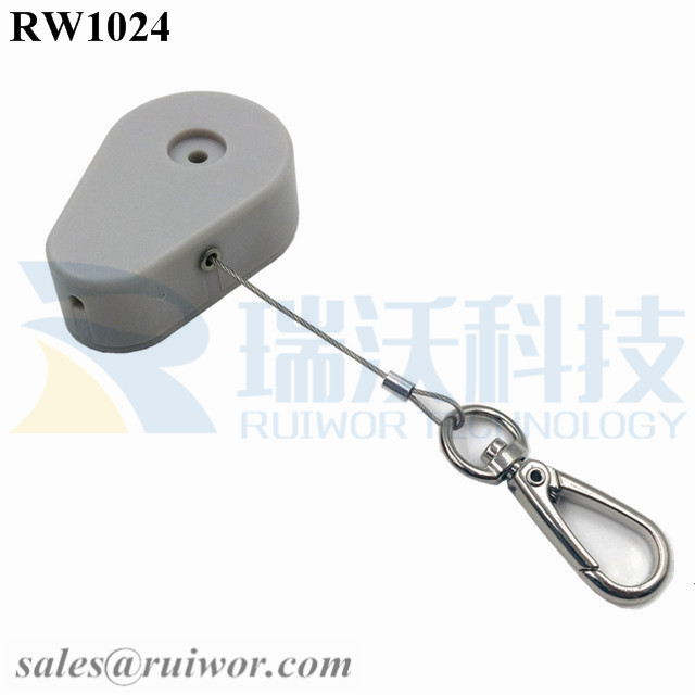 RW1024 Drop-shaped Retractable Security Tether Plus Key Hook as Tidy Positioned Tool Security Tether