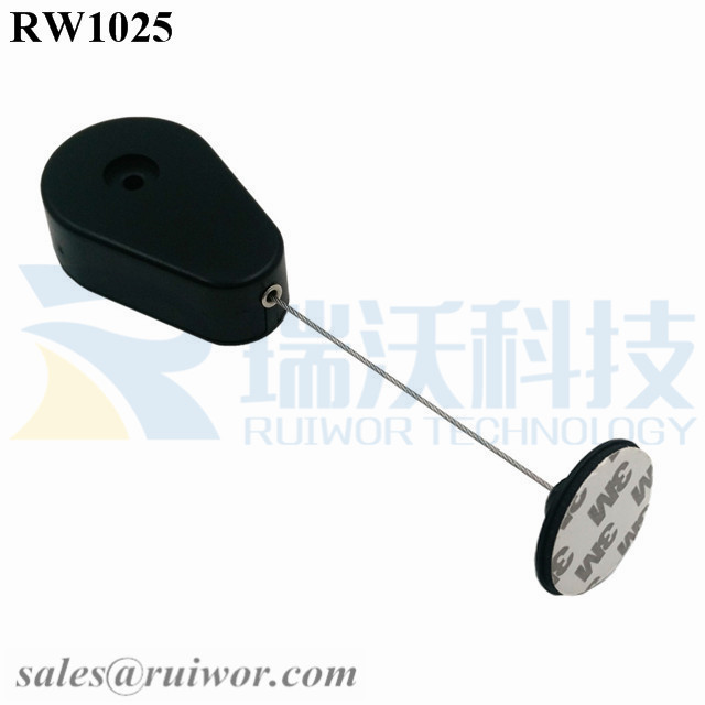 RW1025-Retractable-Security-Tether-Black-Exit-B-With-Diameter-38mm-Circular-Adhesive-Plastic-Plate-Connector