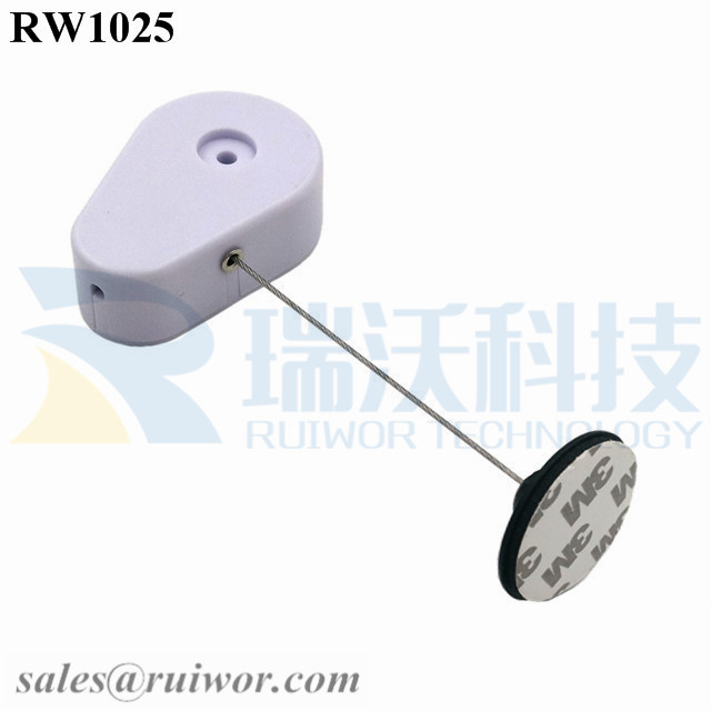 RW1025 Drop-shaped Retractable Security Tether  Plus Dia 38mm Circular Adhesive Plastic Plate