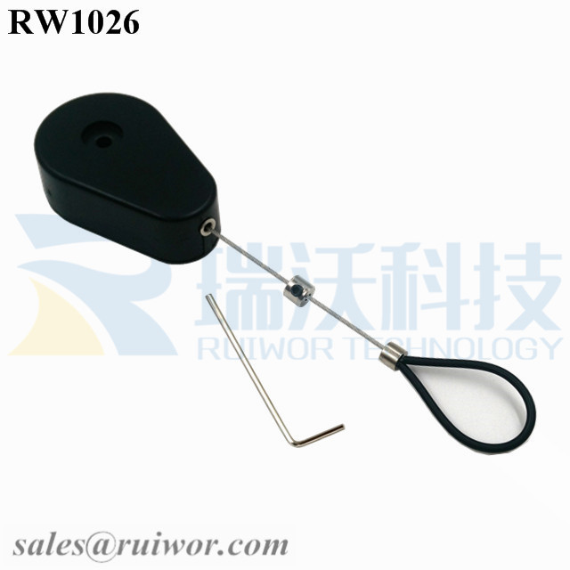 RW1026 Drop-shaped Retractable Security Tether Plus Adjustable Stainless Steel Wire Loop Coated Silicone Hose