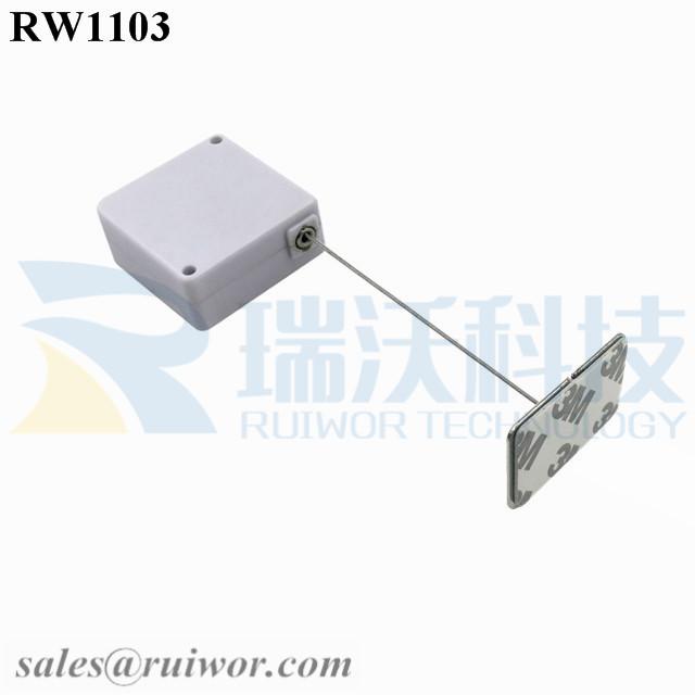 RW1103 Square Retail Security Tether Plus 35X22mm Rectangular Adhesive metal Plate