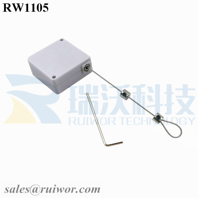 RW1105 Square Retail Security Tether Plus Adjustalbe Lasso Loop by Small Lock and Allen Key for Jewelry Security Display