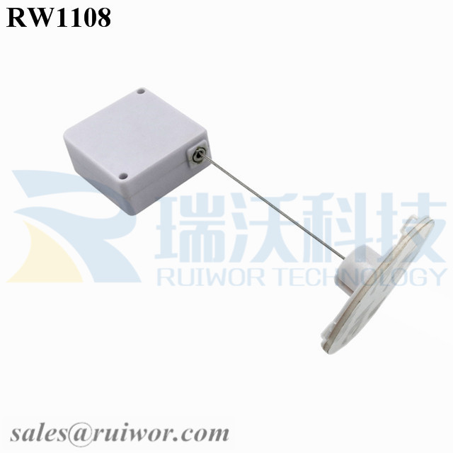 RW1108 Square Retail Security Tether Plus Dia 38mm Circular Sticky Flexible ABS Plate for Retail Product Positioning