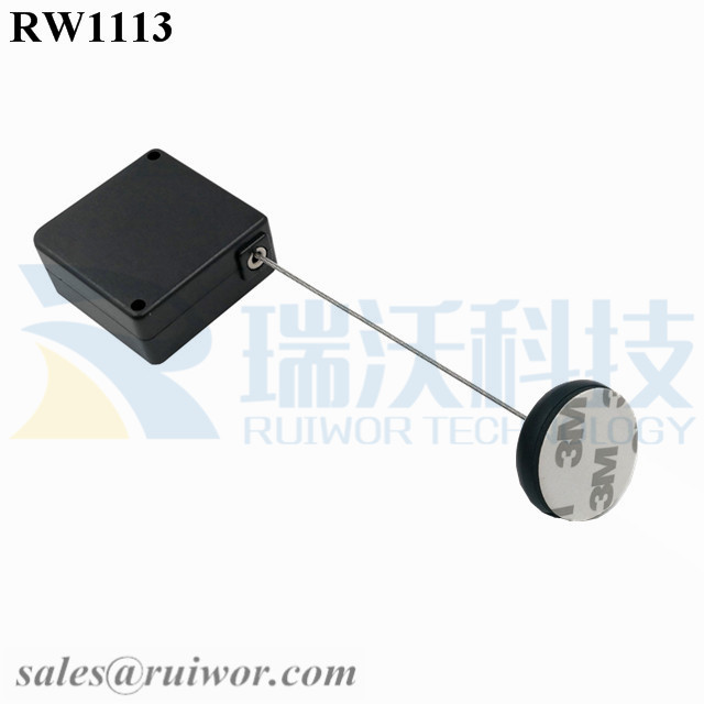 RW1113 Square Retail Security Tether Plus Dia 30MMx5.5MM Circular Adhesive ABS Block