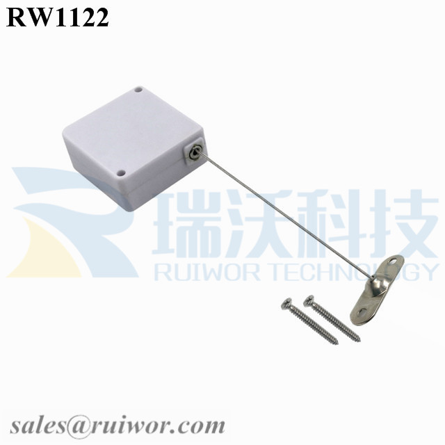 RW1122 Square Retail Security Tether Plus 10x31MM Two Screw Perforated Oval Metal Plate Connector Installed by Screw