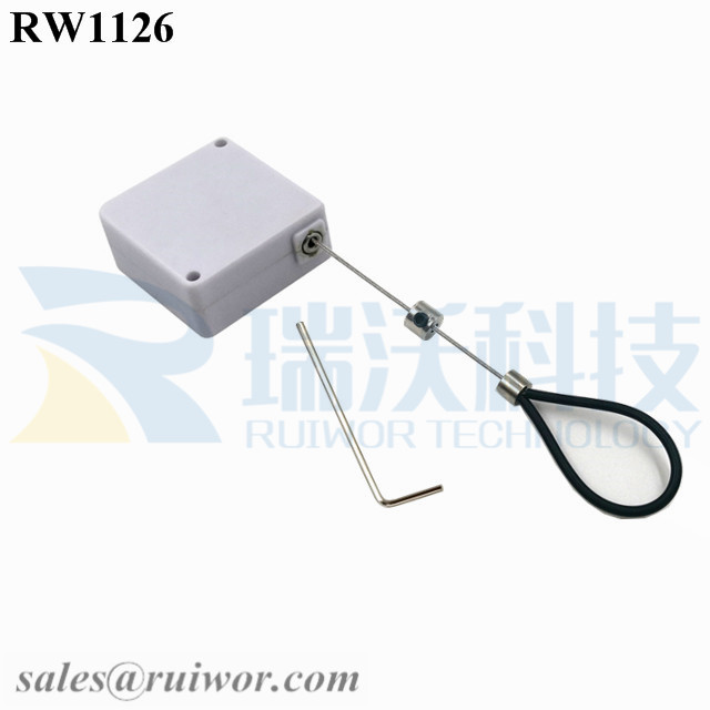 RW1126 Square Retail Security Tether Plus Adjustable Stainless Steel Wire Loop Clad Silicone Hose for Product Positioning