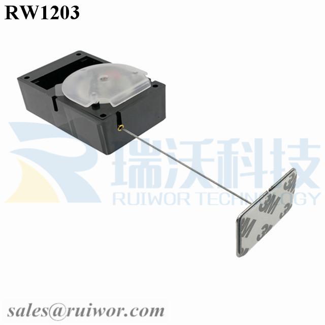 RW1203 Cuboid Alarmed Pull Box Plus 35X22mm Rectangular Adhesive metal Plate
