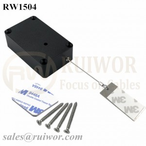RW1504 Cuboid Multifunctional Retractable Cable with 45X19mm Rectangular Sticky metal Plate Used in Supermarkets Security Retail Display