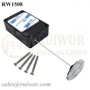 RW1508 Cuboid Multifunctional Retractable Cable with Dia 38mm Circular Sticky Flexible ABS Plate Used in Radian Surface Products