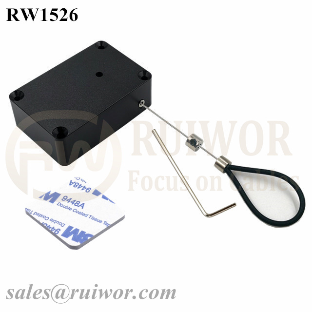 RW1526 Cuboid Multifunctional Retractable Cable with Adjustalbe Stainless Steel Anti-theft Cable Loop Coated with Silicone Hose