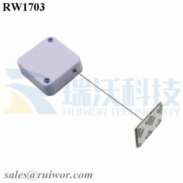 RW1703 Square Security Tether Plus 35X22mm Rectangular Adhesive metal Plate