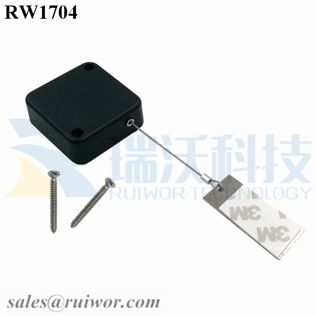 RW1704 Square Security Tether Plus 45X19mm Rectangular Sticky metal Plate