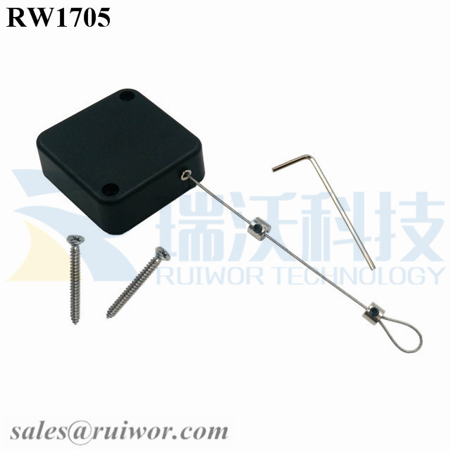 RW1705 Square Security Tether Plus Adjustalbe Lasso Loop End by Small Lock and Allen Key