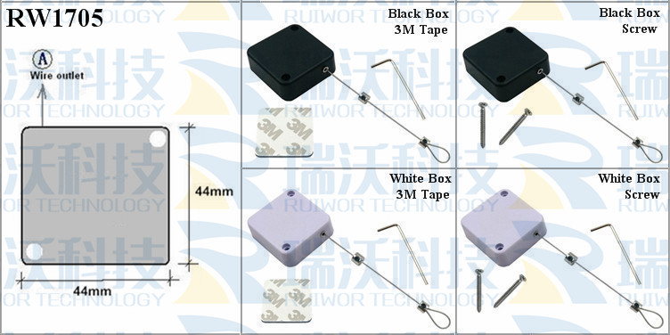 RW1705 Retractable Cable Reel specifications (cable exit details, box size details)