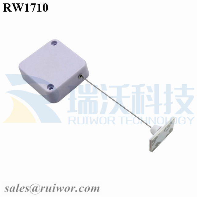 RW1710 Square Security Tether Plus 25X15mm Rectangular Adhesive ABS Plate
