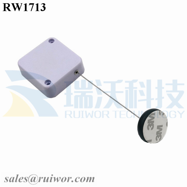RW1713 Square Security Tether Plus Dia 30MMx5.5MM Circular Adhesive ABS Block