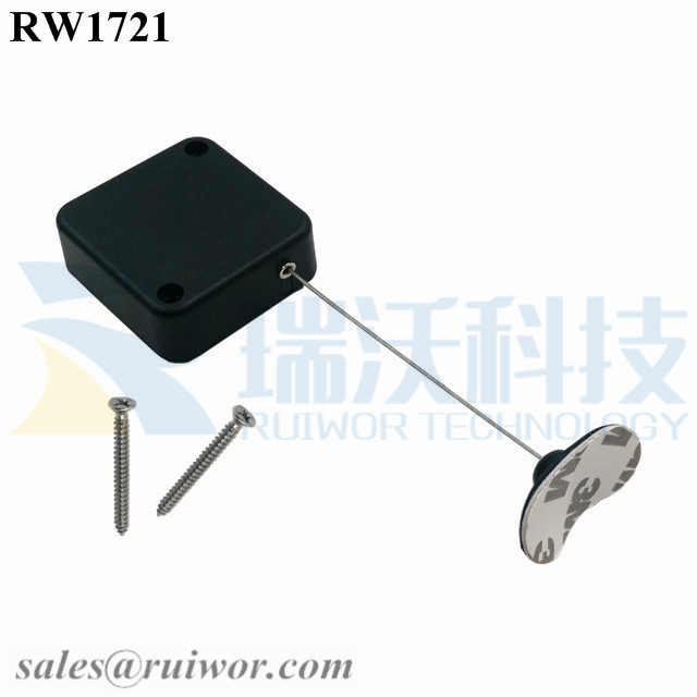 RW1721 Square Security Tether Plus 33x19MM Oval Sticky Flexible Rubber Tips