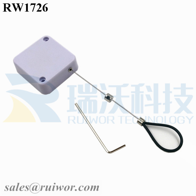 RW1726 Square Security Tether Plus Adjustable Stainless Steel Wire Loop Coated Silicone Hose