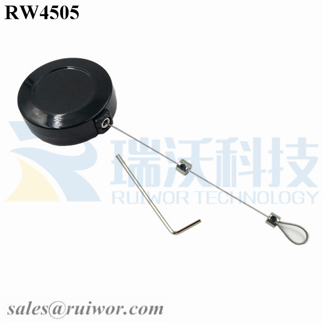 RW4505-Cord-Reels-Black-Box-With-Adjustalbe-Lasso-Loop-End-by-Small-Lock-and-Allen-Key
