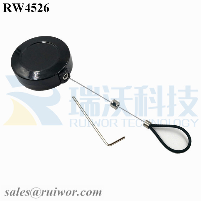 RW4526 Round Mini Display Pull Box Plus Adjustable Stainless Steel Wire Loop Coated Silicone Hose