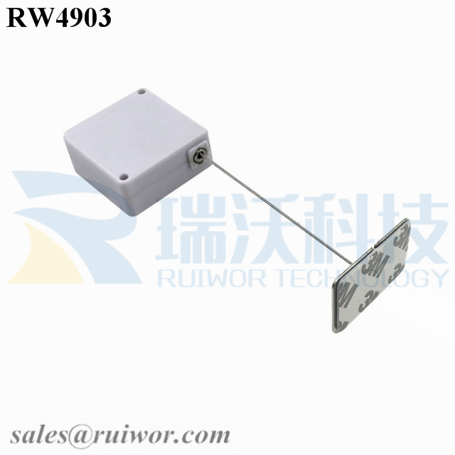 RW4903 Square Ratcheting Retractable Tether Plus Stop Function Plus Rectangular Adhesive metal Plate