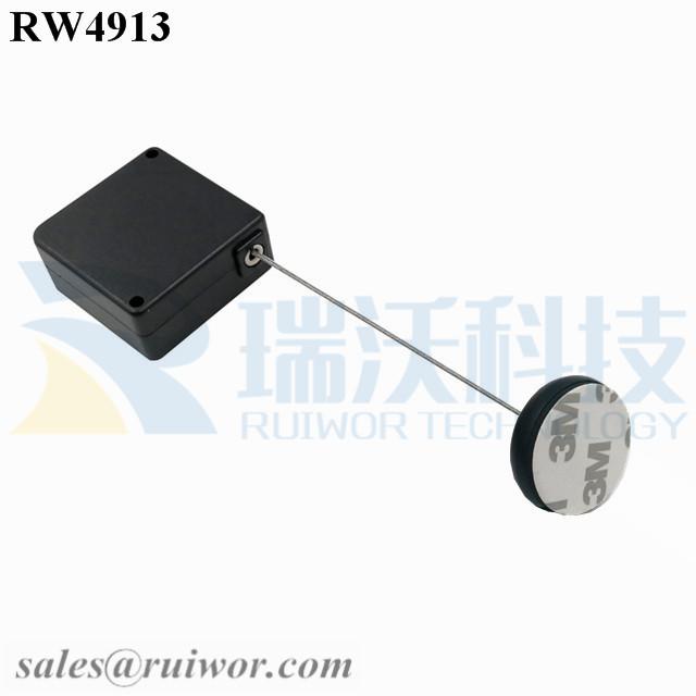 RW4913-Retractable-Cable-Black-Box-With-Diameter-30MM-Circular-Adhesive-ABS-Block