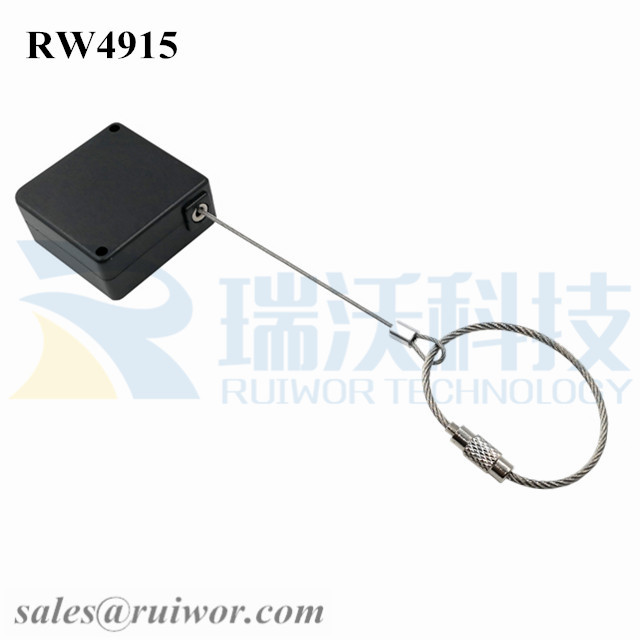 RW4915-Retractable-Cable-Black-Box-With-Size-Customizable-Wire-Rope-Ring-Catch