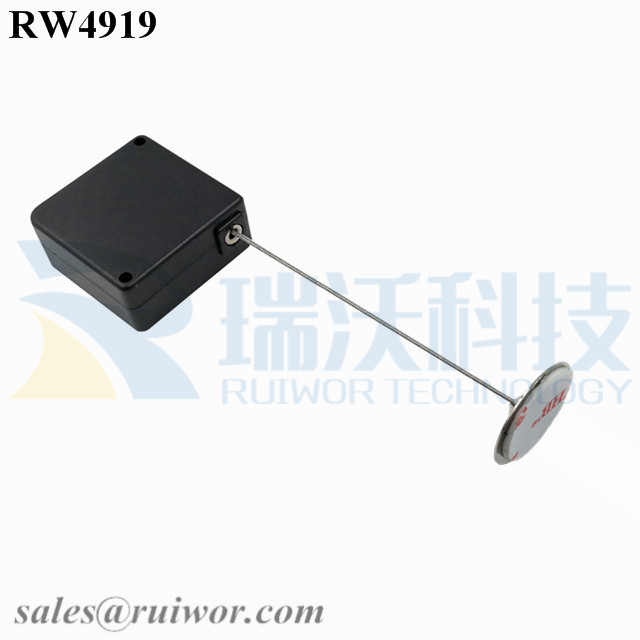 RW4919 Square Ratcheting Retractable Tether Plus Pause Function and Dia 22mm Circular Sticky metal Plate Featured Image