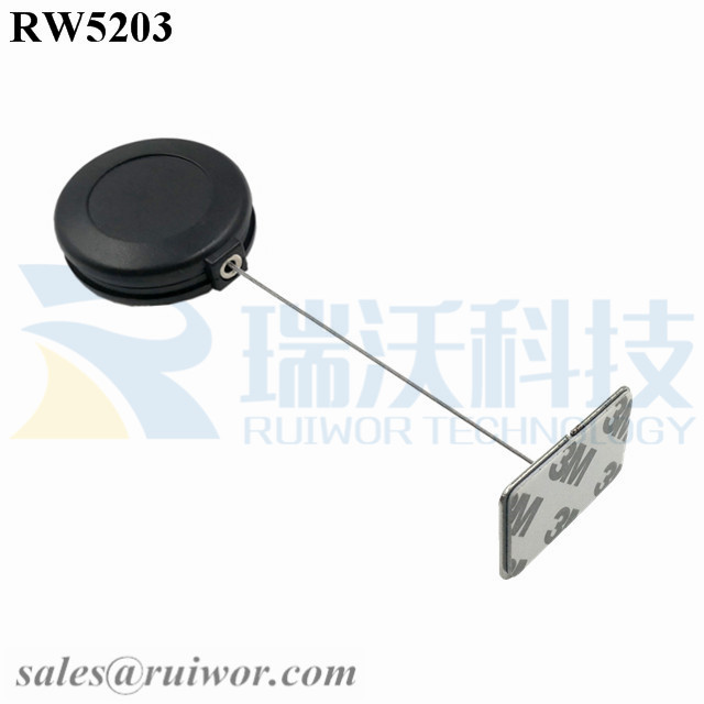 RW5203-Security-Tether-Black-Box-With-35X22mm-Rectangular-Adhesive-Metal-Plate