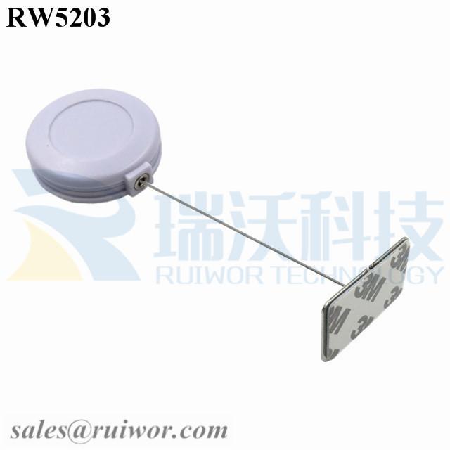 RW5203 Round Anti Theft Retractor Plus 35X22mm Rectangular Adhesive metal Plate