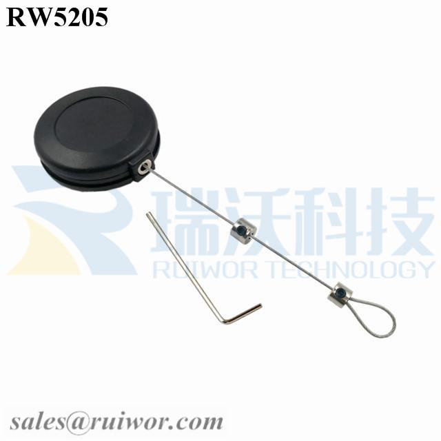 RW5205 Round Anti Theft Retractor Plus Adjustalbe Lasso Loop End by Small Lock and Allen Key