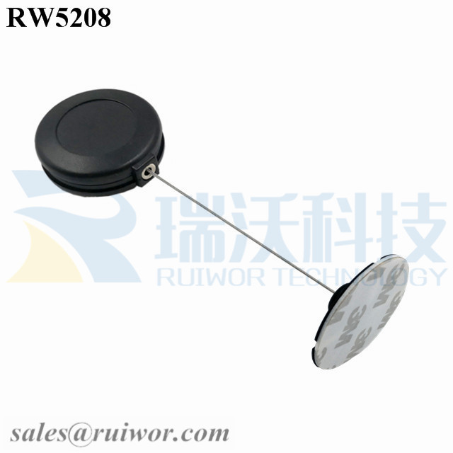 RW5208 Round Anti Theft Retractor Plus Dia 38mm Circular Sticky Flexible ABS Plate Featured Image