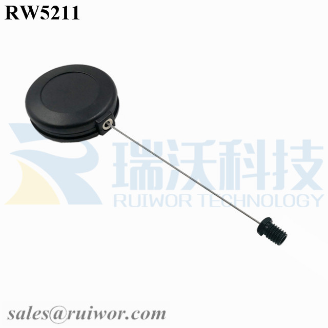 RW5211 Round Anti Theft Retractor Plus M6x8MM /M8x8MM or Customized Flat Head Screw Cable End
