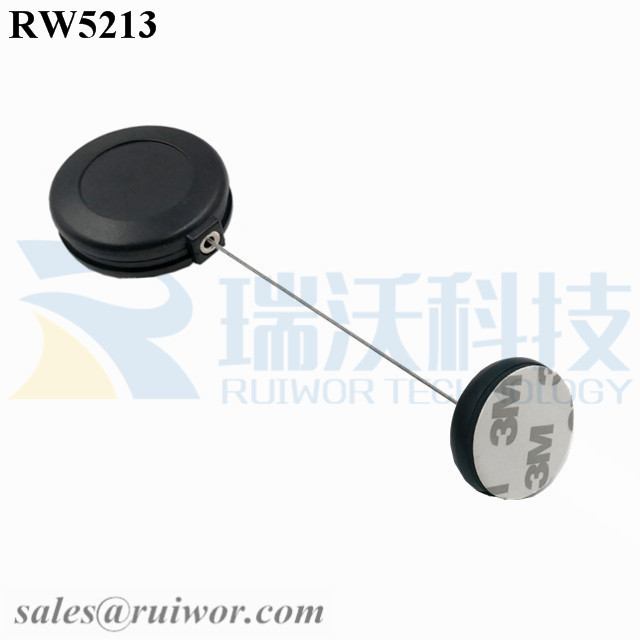 RW5213 Round Anti Theft Retractor Plus Dia 30MMx5.5MM Circular Adhesive ABS Block