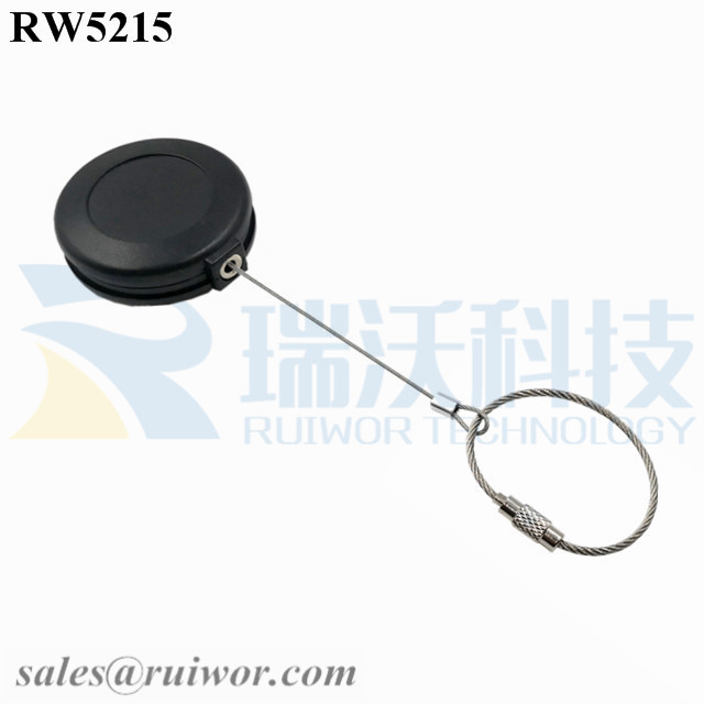 RW5215 Round Anti Theft Retractor Plus Wire Rope Ring Catch