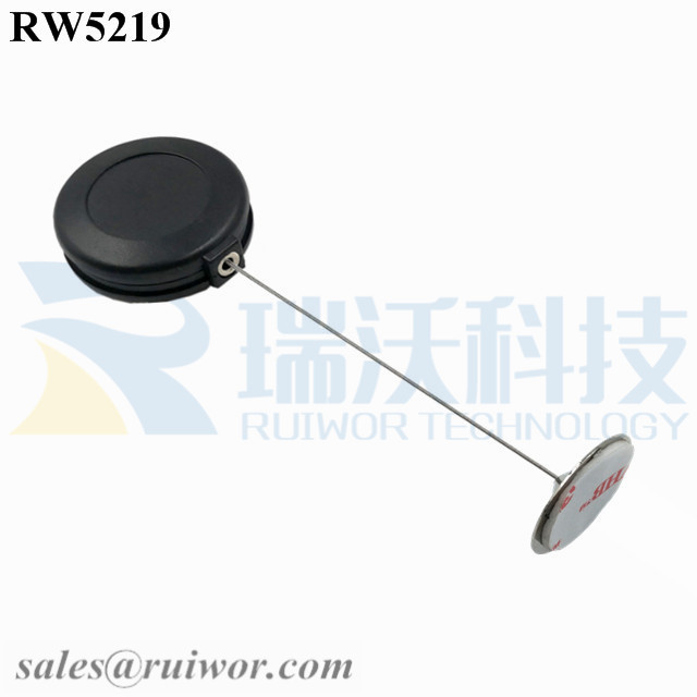 RW5219 Round Anti Theft Retractor Plus Dia 22mm Circular Sticky metal Plate